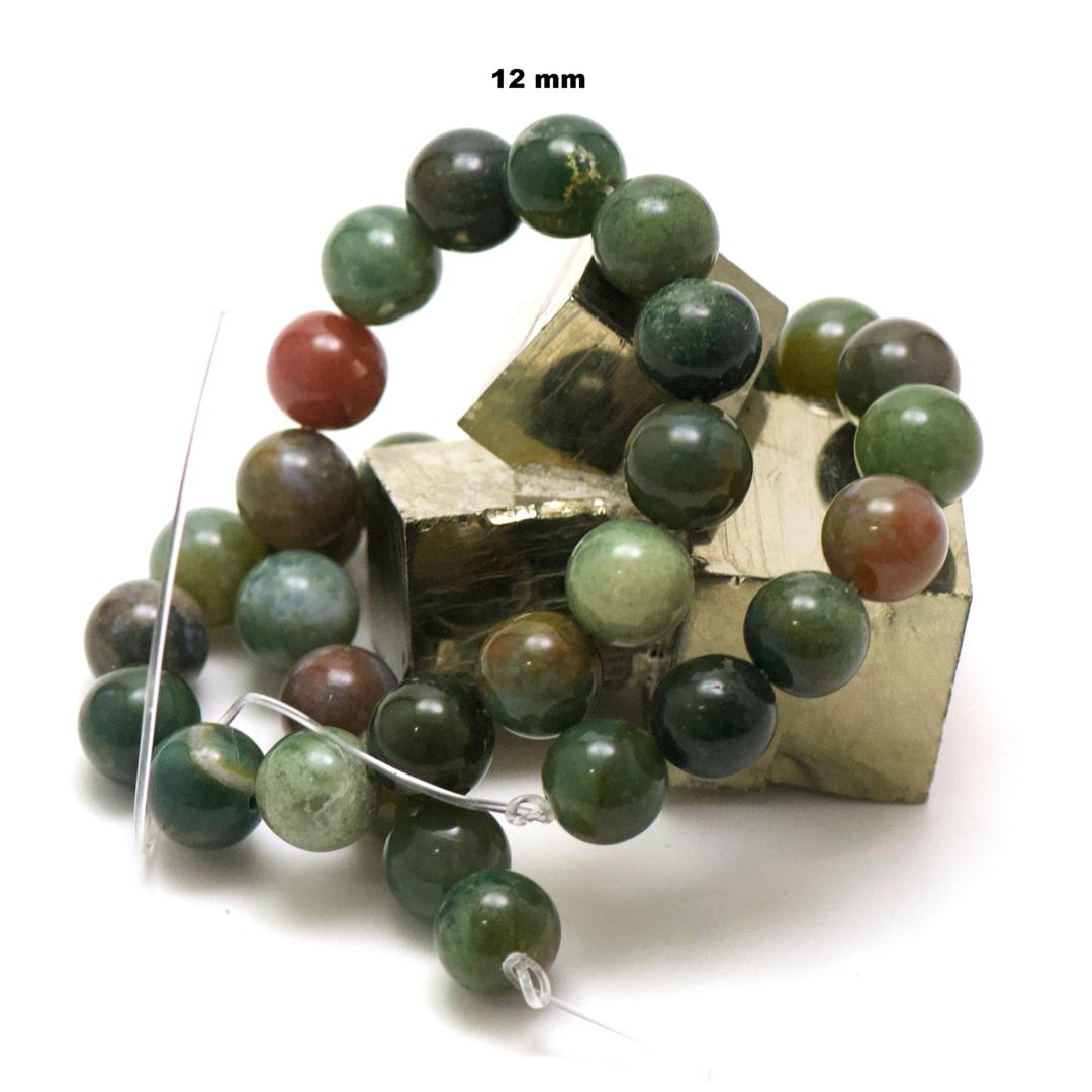 fil de 39 cm env 32 perles d\'agate indien ronde 12 mm
