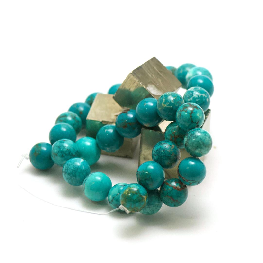 fil de 39 cm 30 perles de turquoise ronde 14 mm, pierre naturelle