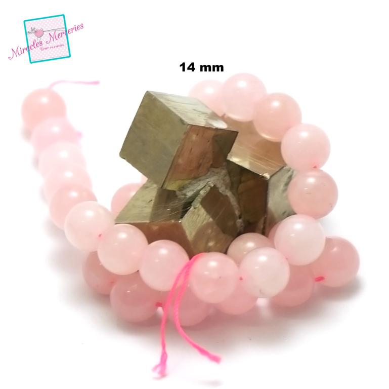 fil de 39 cm env 28 perles de quartz rose ronde 14 mm