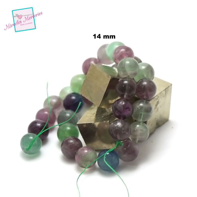 fil de 39 cm env 28 perles de fluorite ronde 14 mm