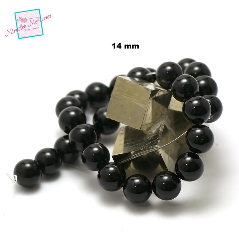 fil de 39 cm env 28 perles d\'onyx ronde 14 mm