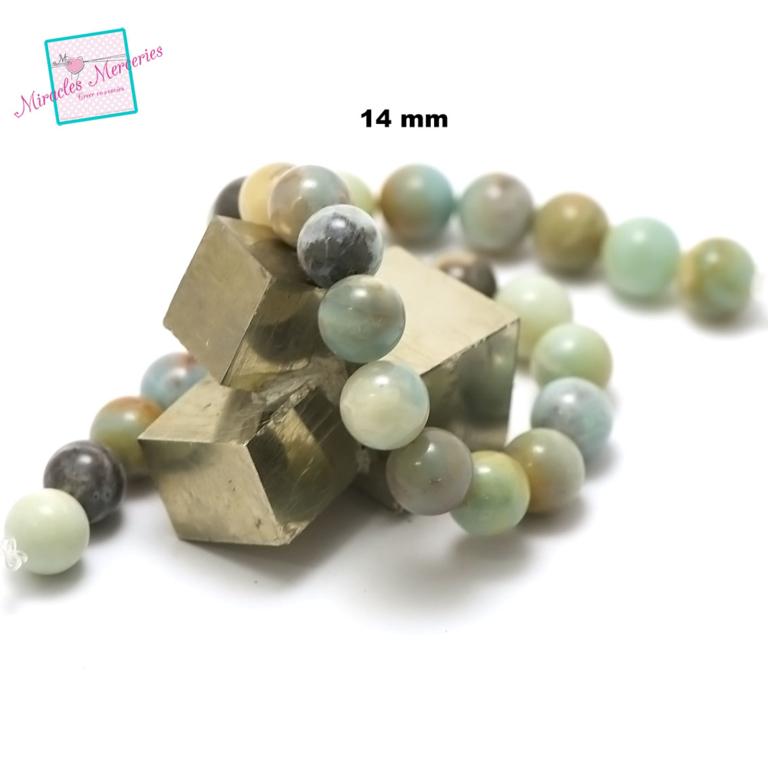 fil de 39 cm env 28 perles d\'amazonite brut ronde 14 mm