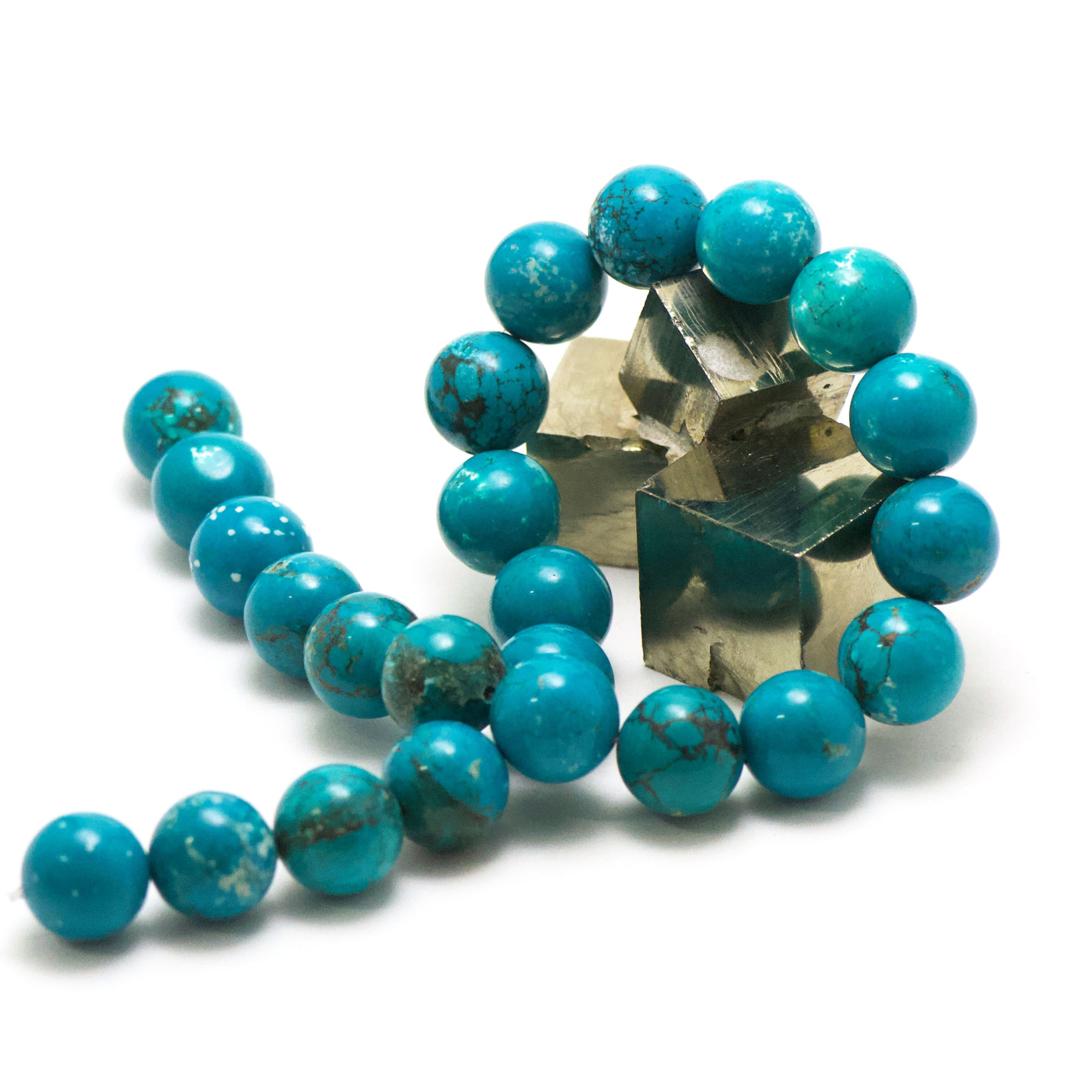 fil de 39 cm 24 perles de turquoise ronde 16 mm, pierre naturelle