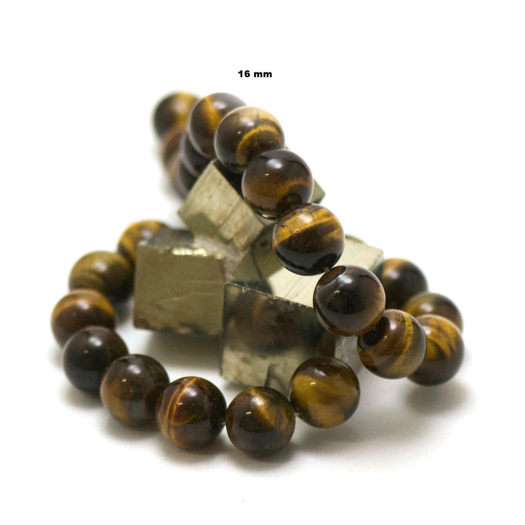 fil de 39 cm 25 perles de oeil de tigre ronde 16 mm, pierre naturelle