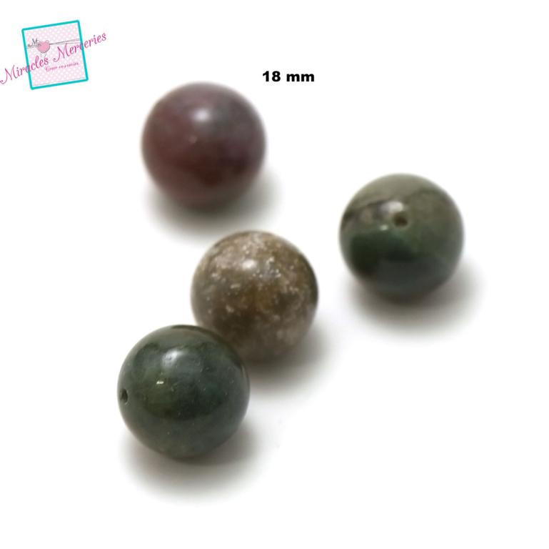 4 magnifiques perles d\'agate indien ronde 18 mm, pierre naturelle