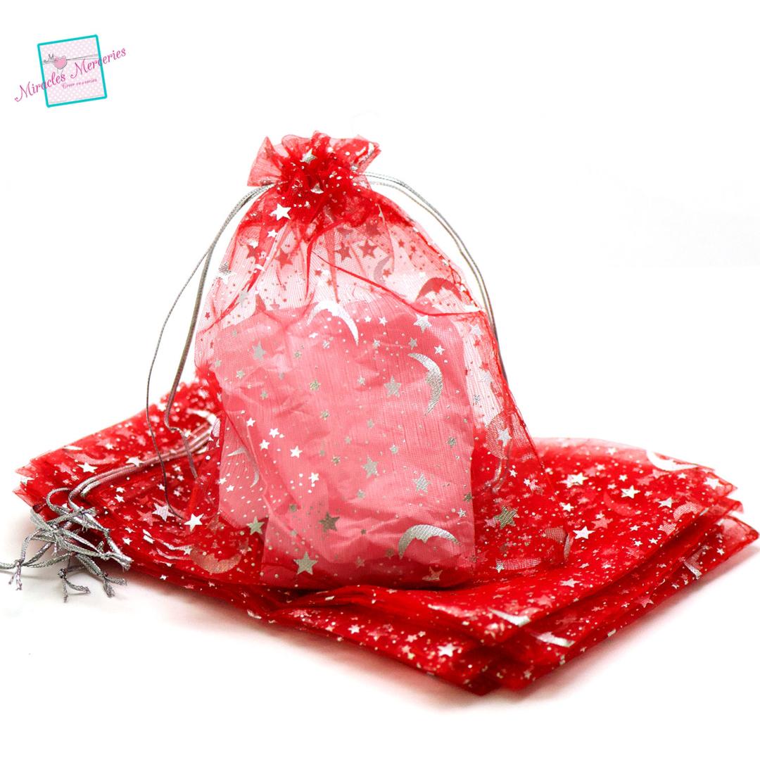10 pochettes cadeaux organza 17x11 cm les astres, rouge