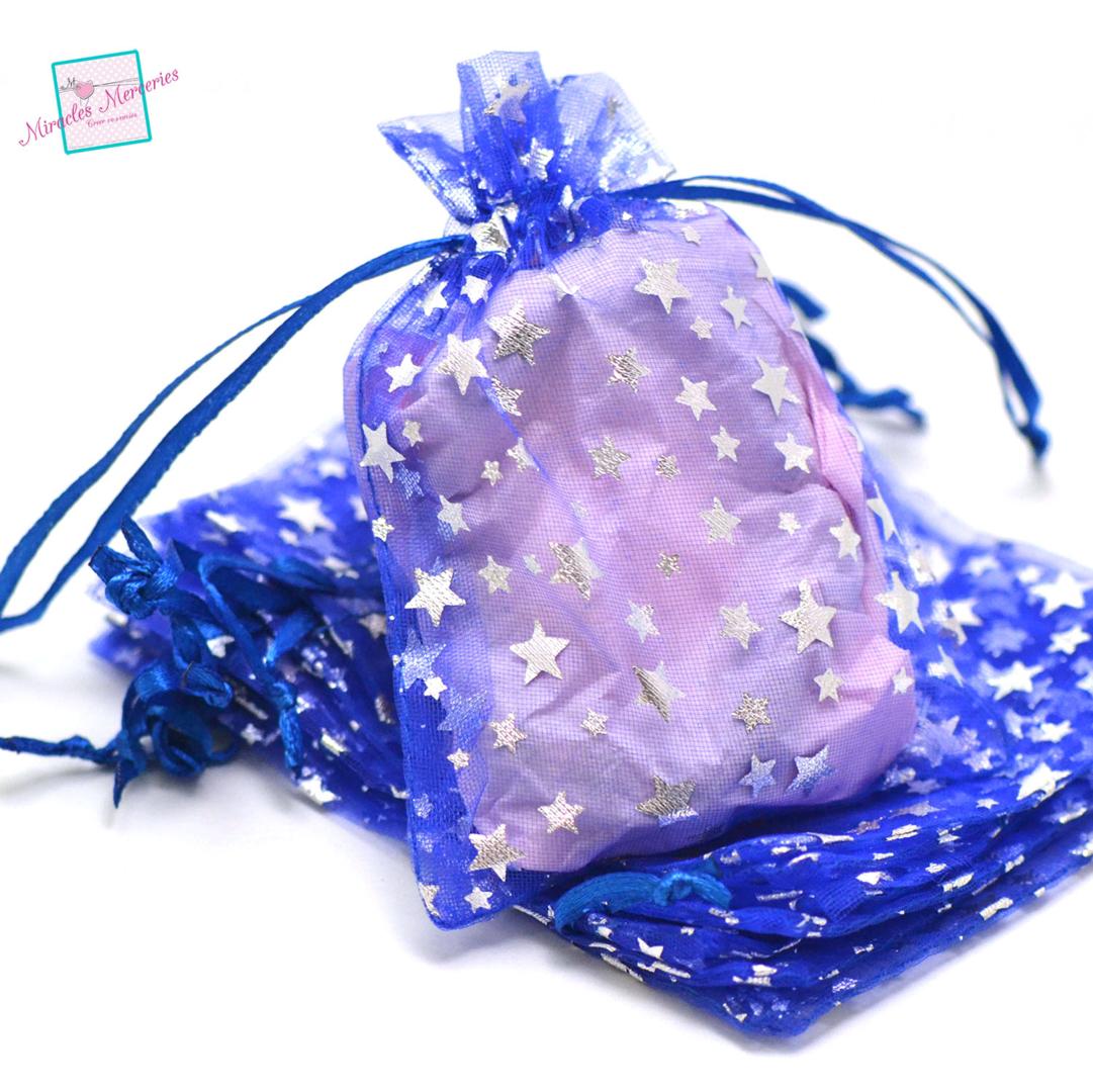10 moyenne pochettes cadeaux organza 12x10 cm étoile, bleu électrique