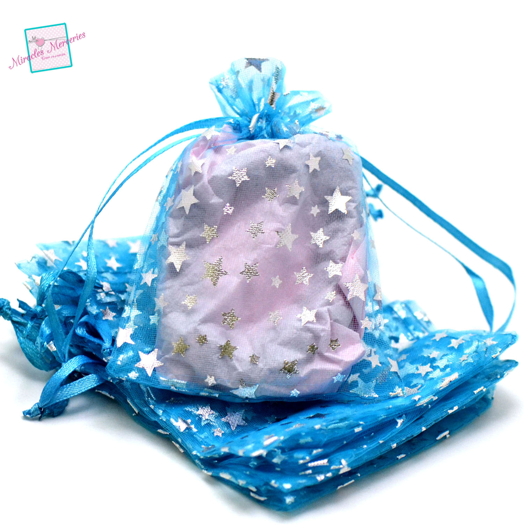 10 moyenne pochettes cadeaux organza 12x10 cm étoile, bleu ciel
