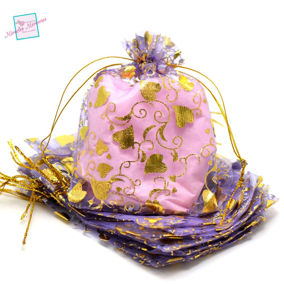 10 moyenne pochettes cadeaux organza 12x10 cm feuille de coeur, violet