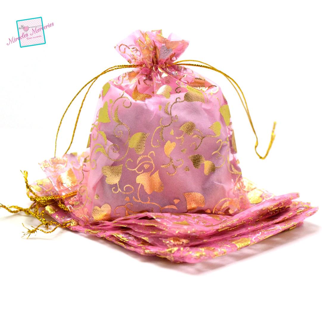 10 moyenne pochettes cadeaux organza 12x10 cm feuille de coeur, rose