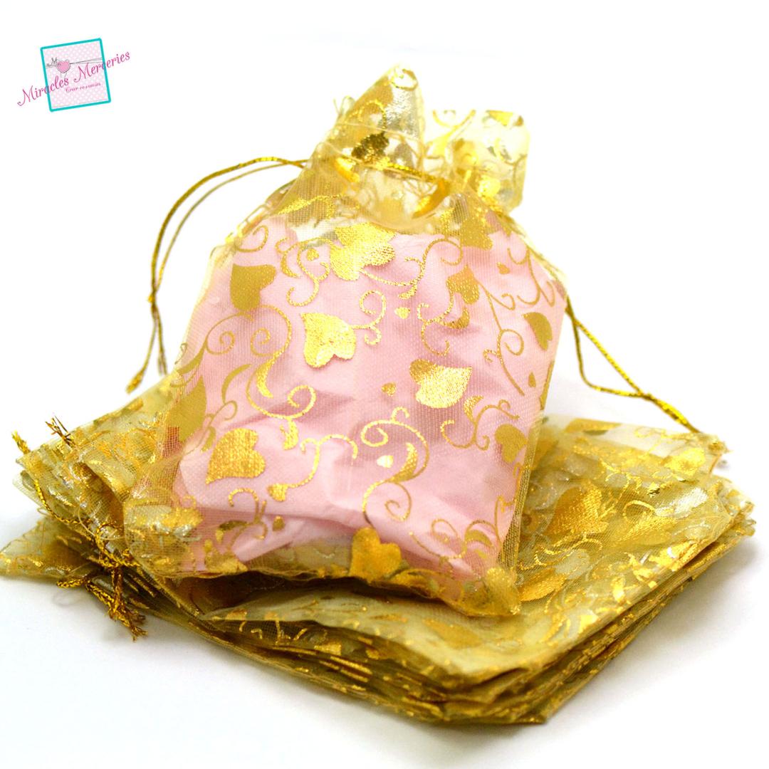 10 moyenne pochettes cadeaux organza 12x10 cm feuille de coeur, doré