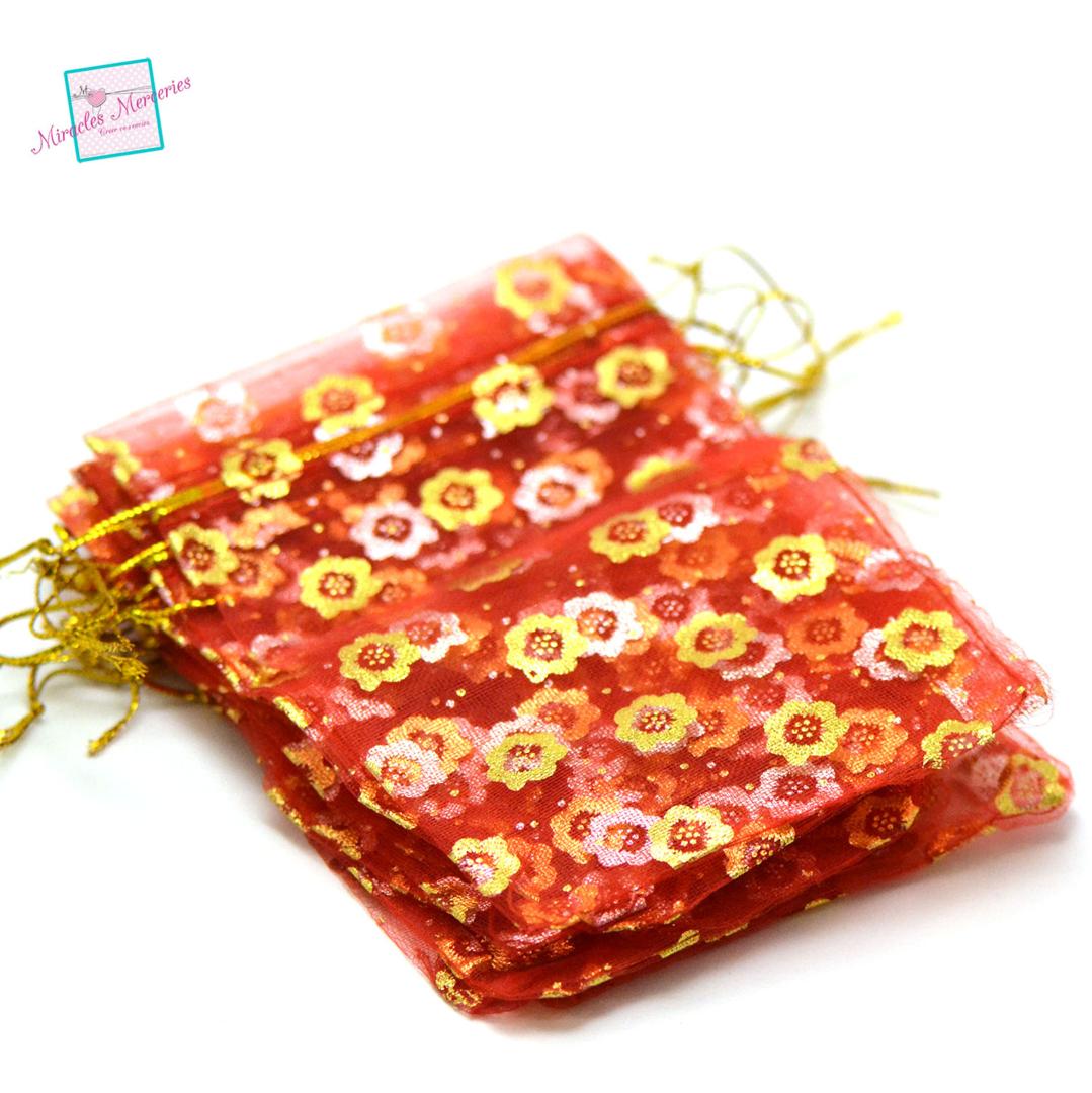 10 moyen pochettes cadeaux organza 12x8,5 cm tournesol, rouge