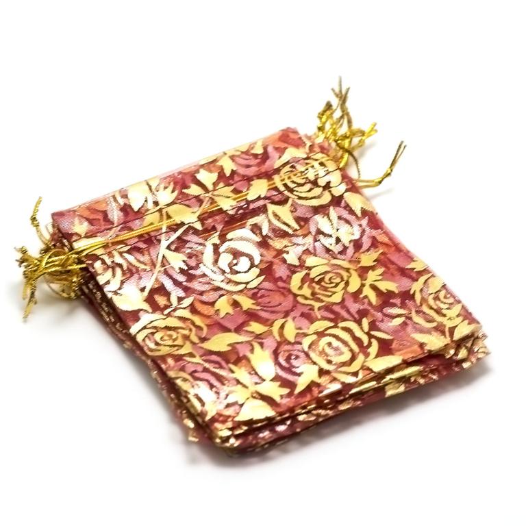 10 moyens pochettes cadeaux organza 120x95 mm, fleur rouge