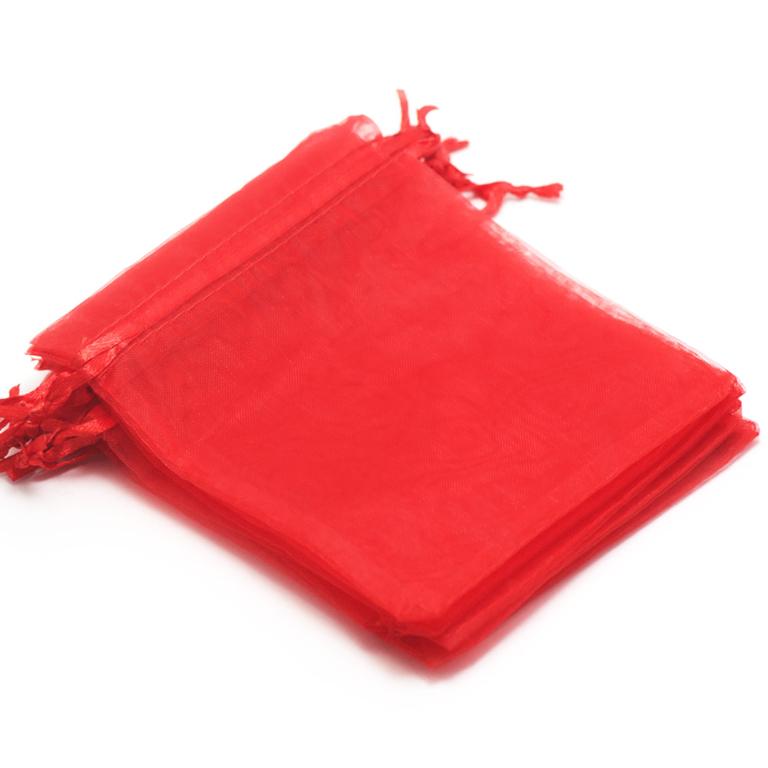 10 moyens pochettes cadeaux organza 120x95 mm,uni rouge