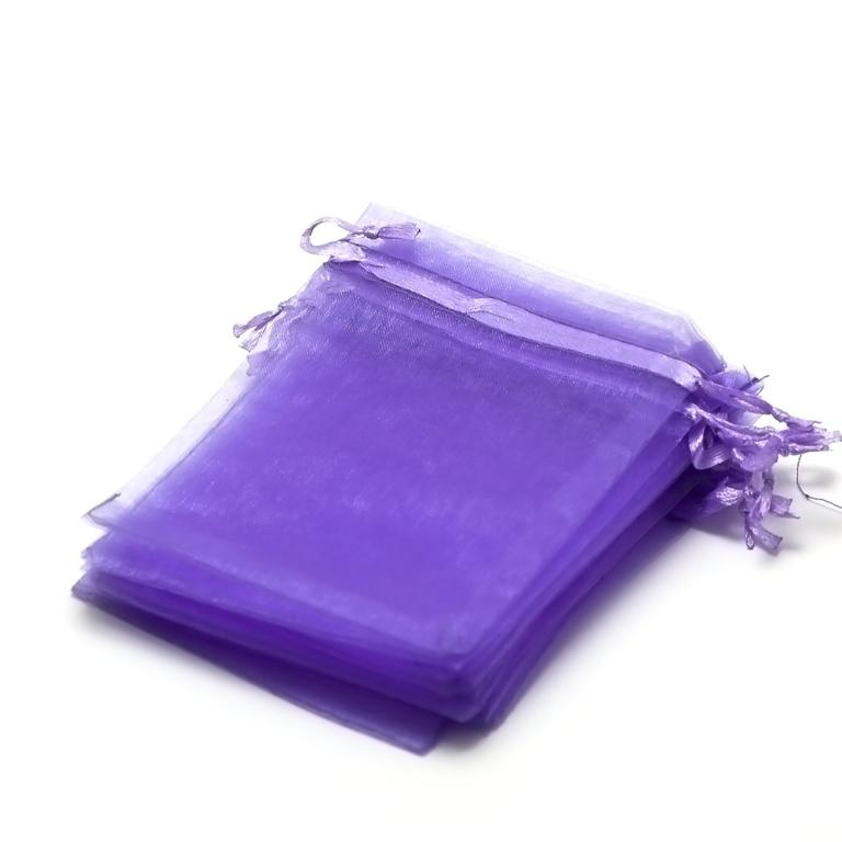 10 moyens pochettes cadeaux organza 120x95 mm,uni violet
