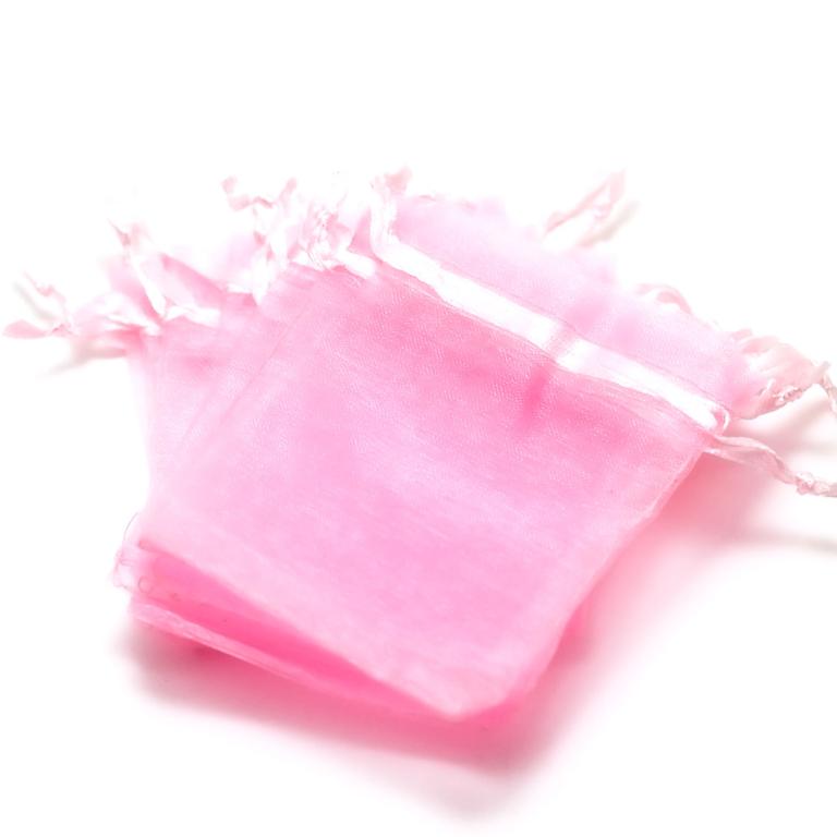 10 petites pochettes cadeaux organza 9,5x6,5 cm, uni rose