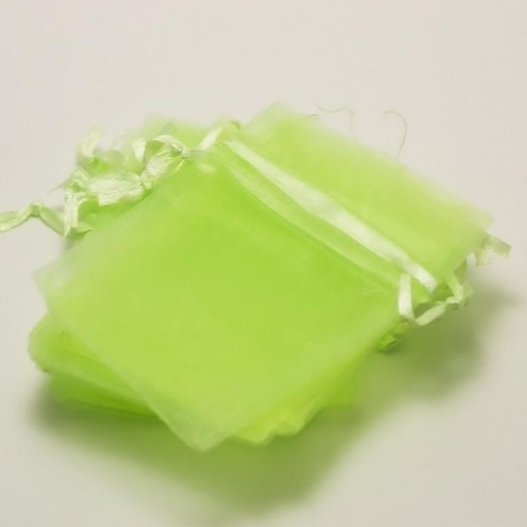 10 petites pochettes cadeaux organza 9,5x6,5 cm,vert anis