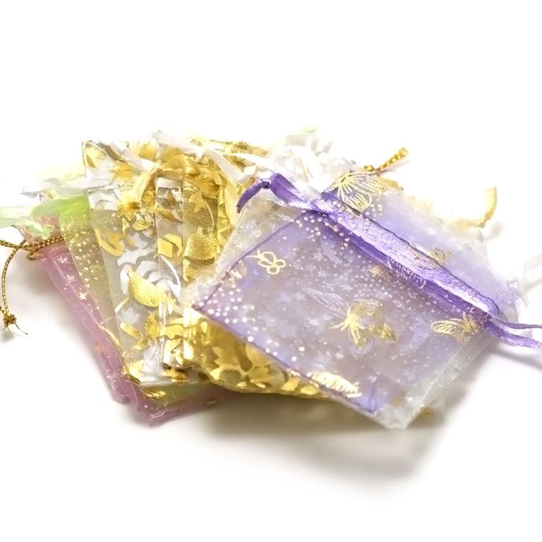 10 petites pochettes cadeaux organza 65x95 mm,assortiment de couleurs et de motif