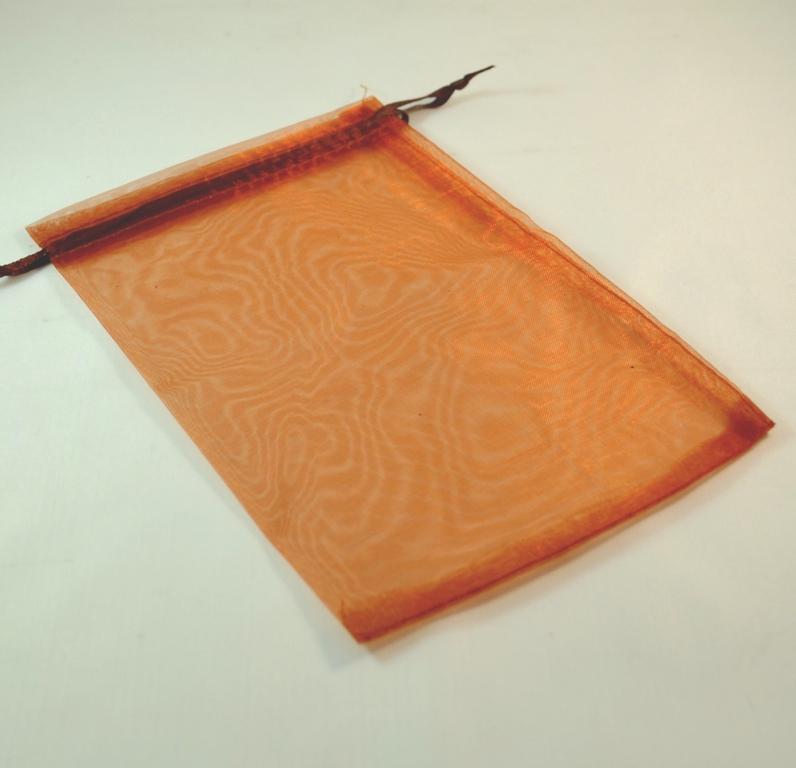 5 grandes pochettes cadeaux organza 180x120 mm ,uni marron