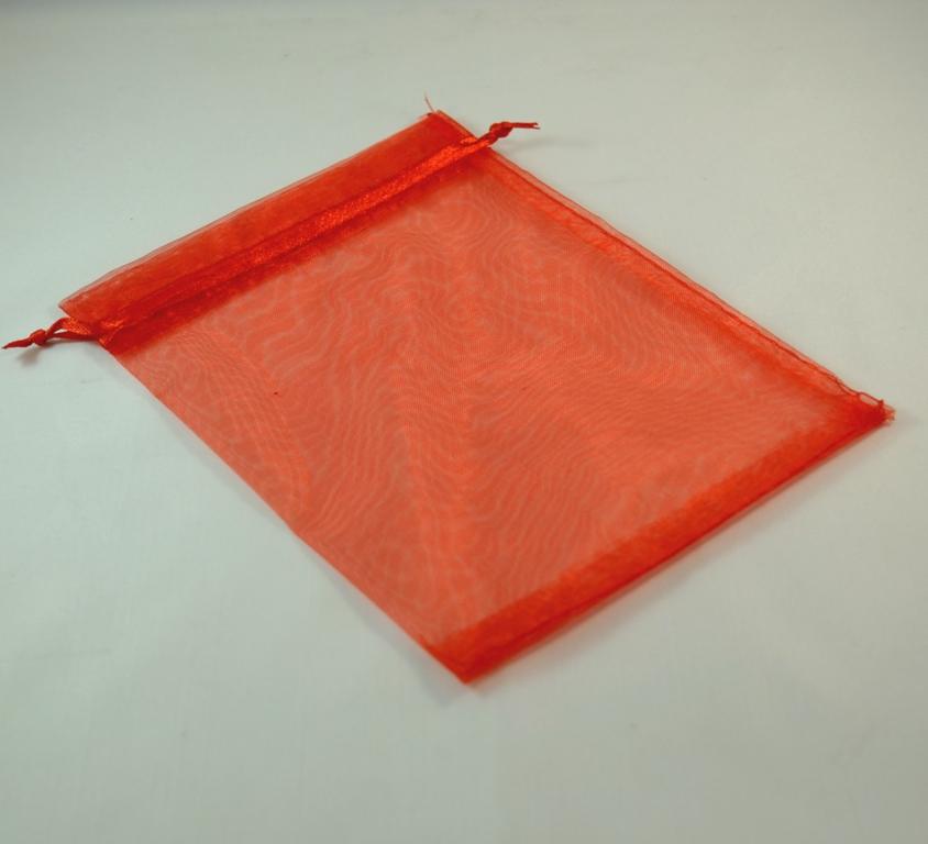 5 grandes pochettes cadeaux organza 180x120 mm ,uni rouge