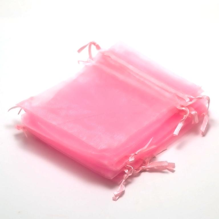 10 moyens pochettes cadeaux organza 120x95 mm,rose unis