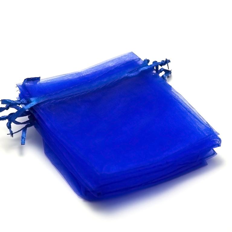 10 moyens pochettes cadeaux organza 120x95 mm,bleu électrique