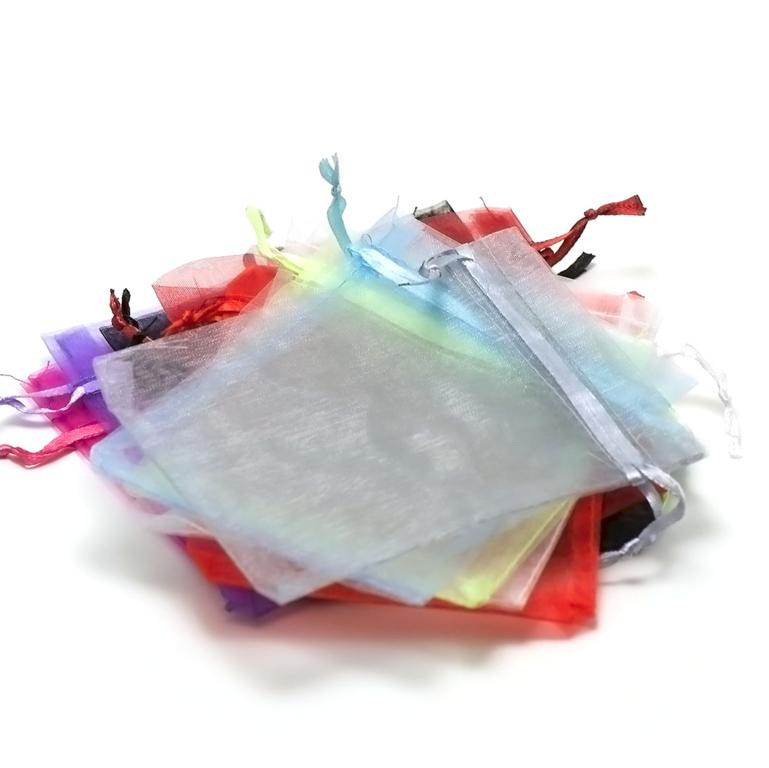 10 moyens pochettes cadeaux organza 120x95 mm,assortiment de couleurs unis