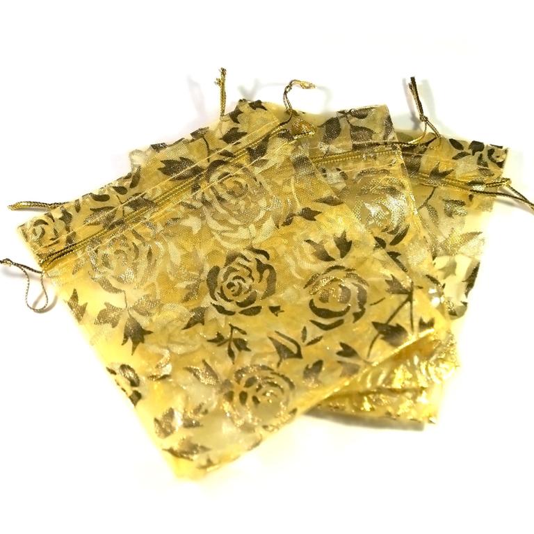 10 moyens pochettes cadeaux organza 120x95 mm,fleur doré