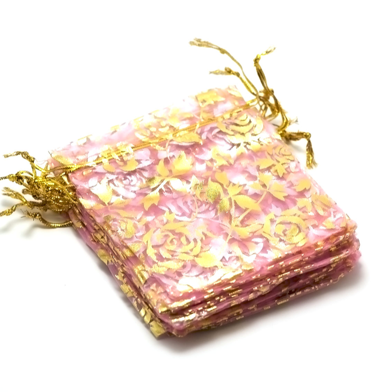 10 moyens pochettes cadeaux organza 120x95 mm,fleur rose