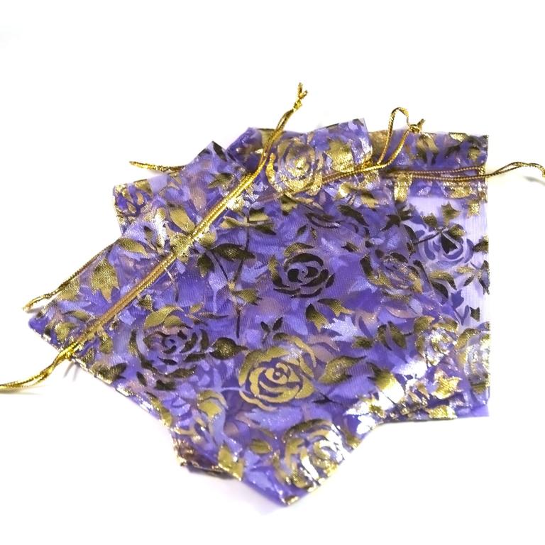 10 moyens pochettes cadeaux organza 120x95 mm,fleur violet