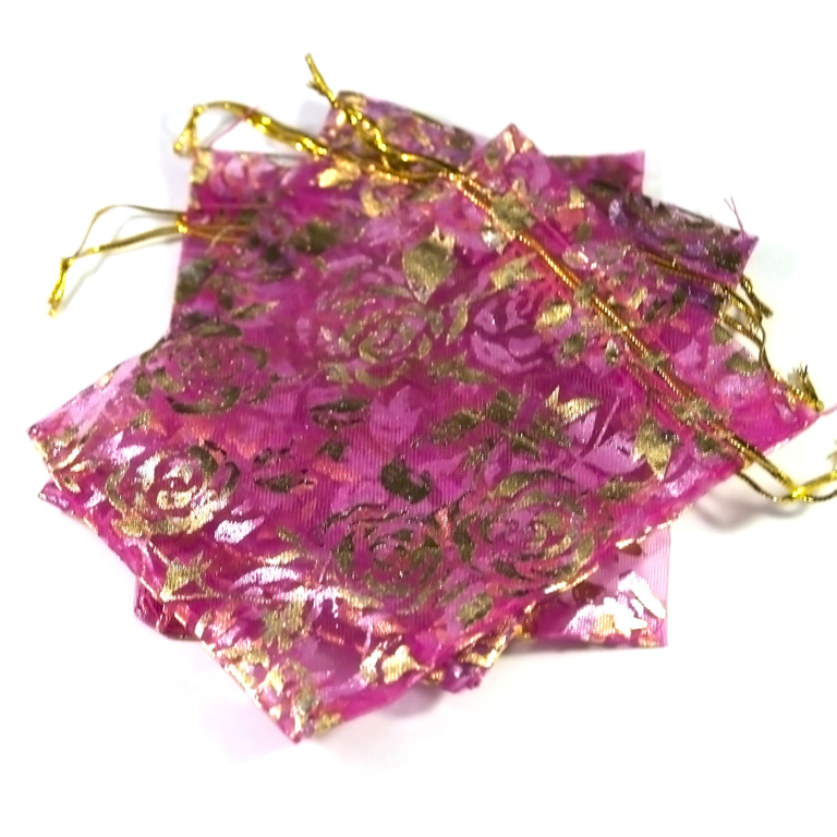 10 moyens pochettes cadeaux organza 120x95 mm,fleur fuchsia