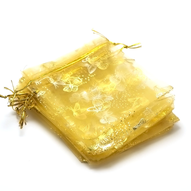 10 moyens pochettes cadeaux organza 120x95 mm,papillon doré