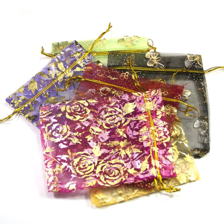 10 moyens pochettes cadeaux en organza 120x95 mm,assortiment de couleurs et de motif