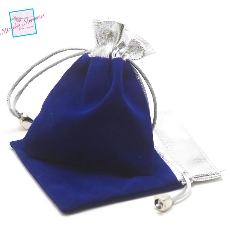 2 pochettes cadeaux en velours 12x10 cm, bleu/argenté