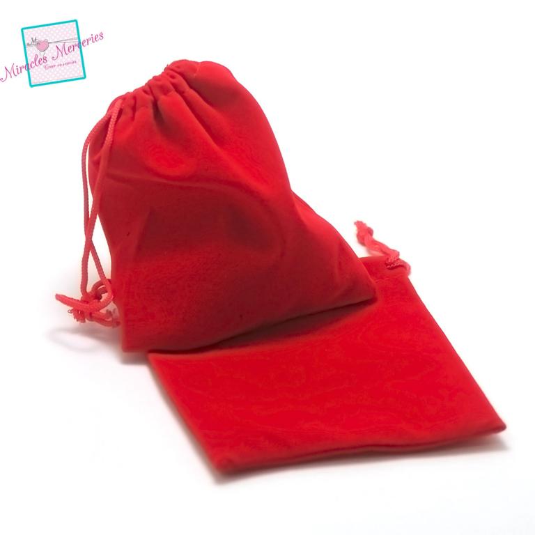 2 pochettes cadeaux en velours 12x10 cm, rouge