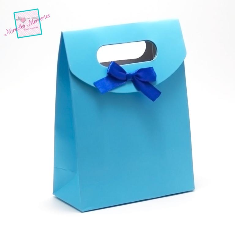 2 pochettes cadeaux en carton 165x125x60 mm,bleu