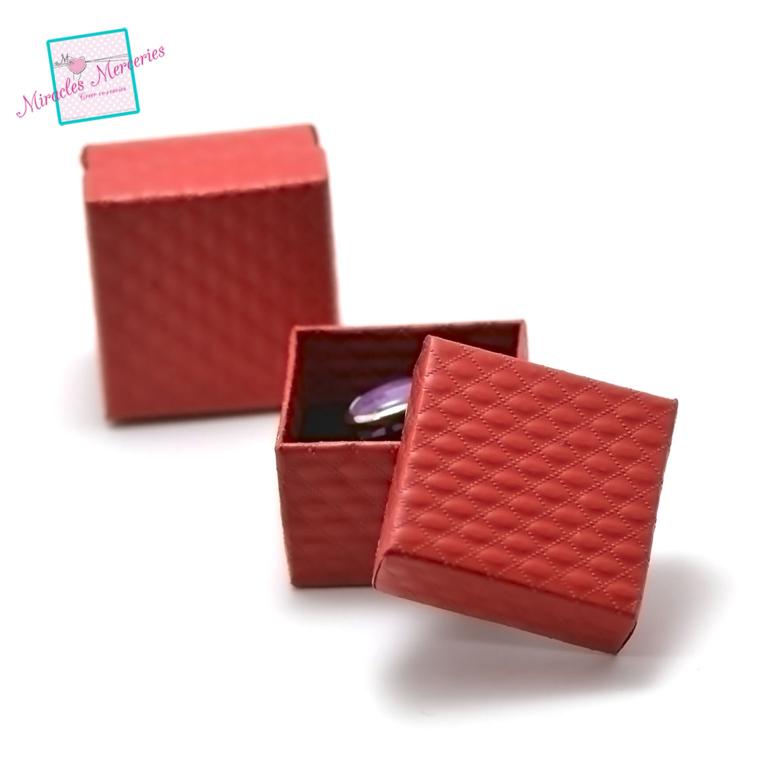 2 boites/écrins bague unis carrée 55x55x35 mm, rouge