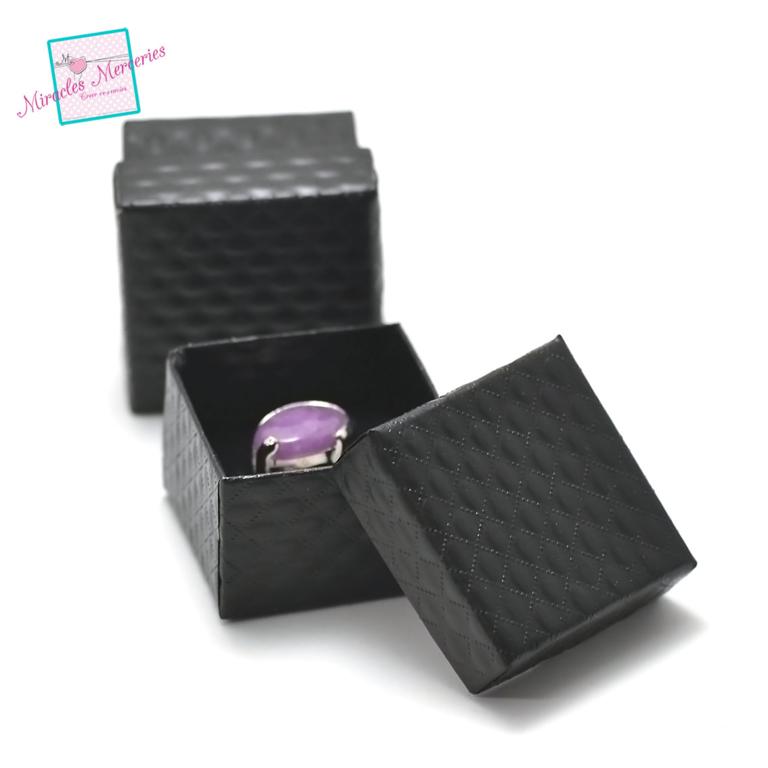 2 boites/écrins bague unis carrée 55x55x35 mm,noir