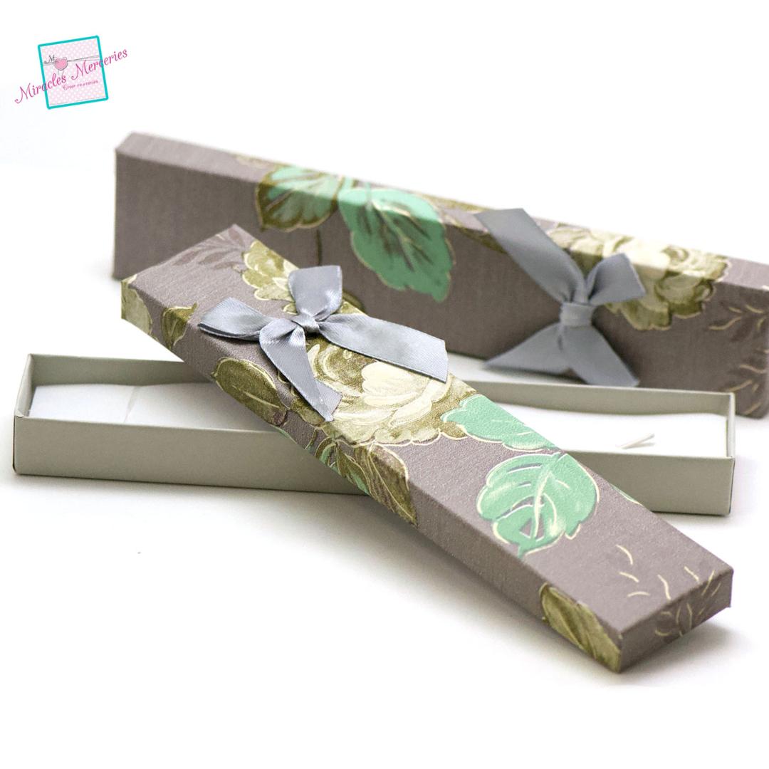 2 boite/écrin bracelet fleur 21x4,5x2 cm, gris