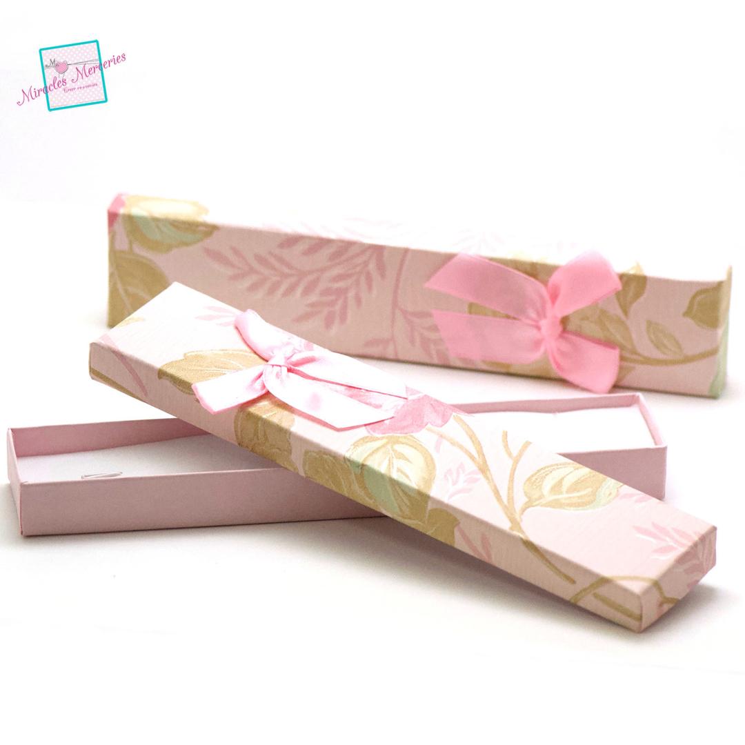 2 boite/écrin bracelet fleur 21x4,5x2 cm, rose