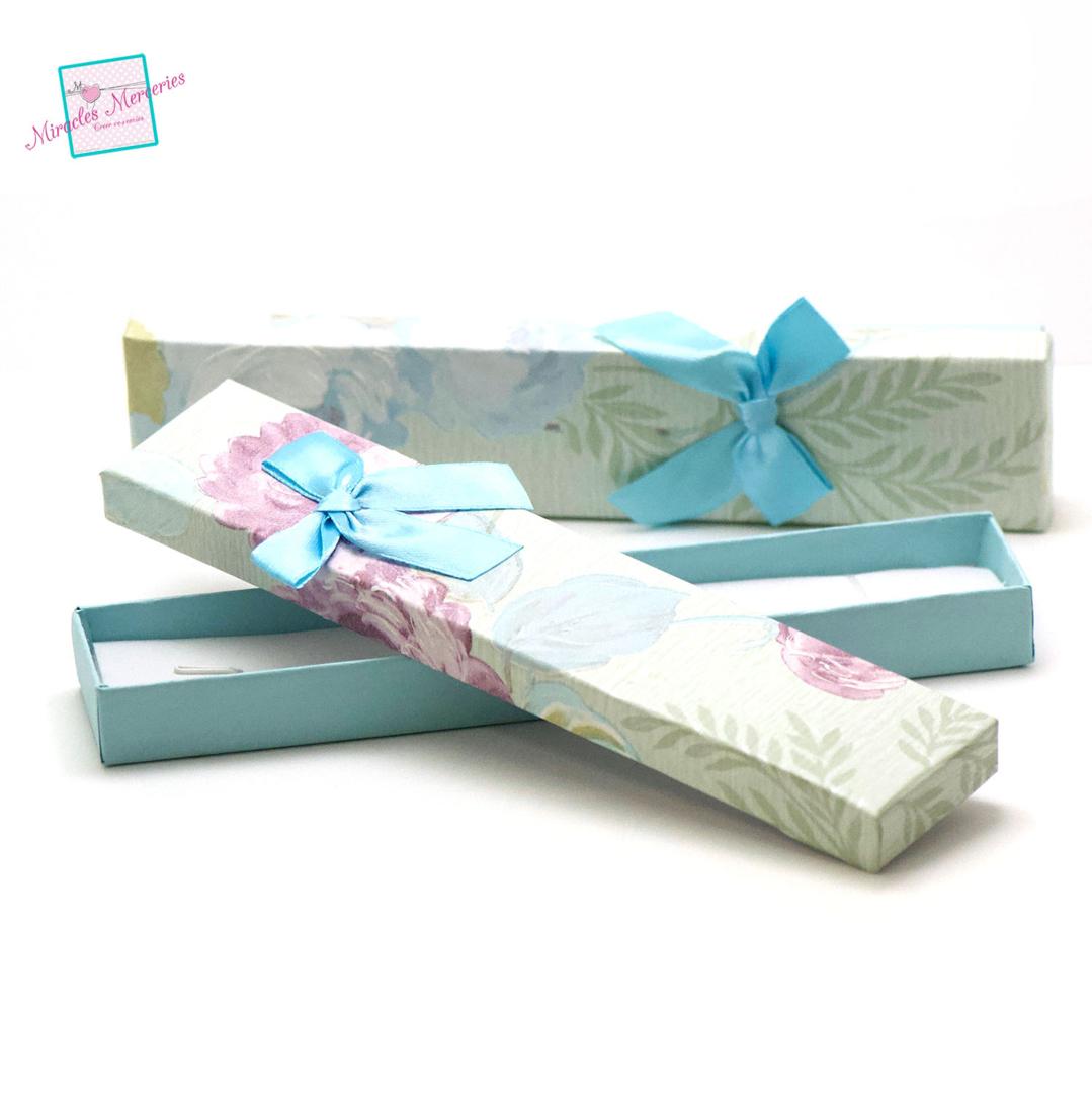 2 boite/écrin bracelet fleur 21x4,5x2 cm, vert clair