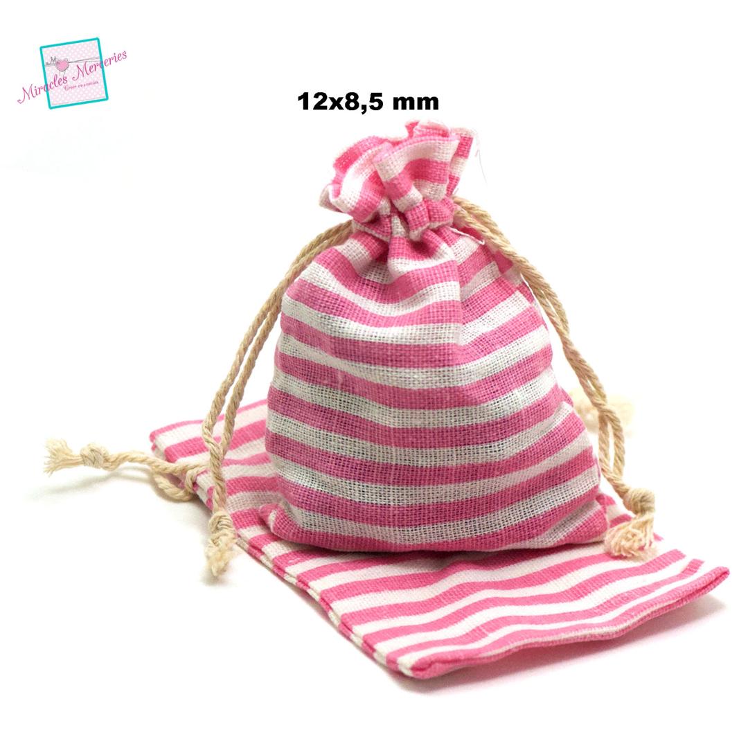 4 petites pochettes cadeaux en lin marinière 12x8,5 cm, rose