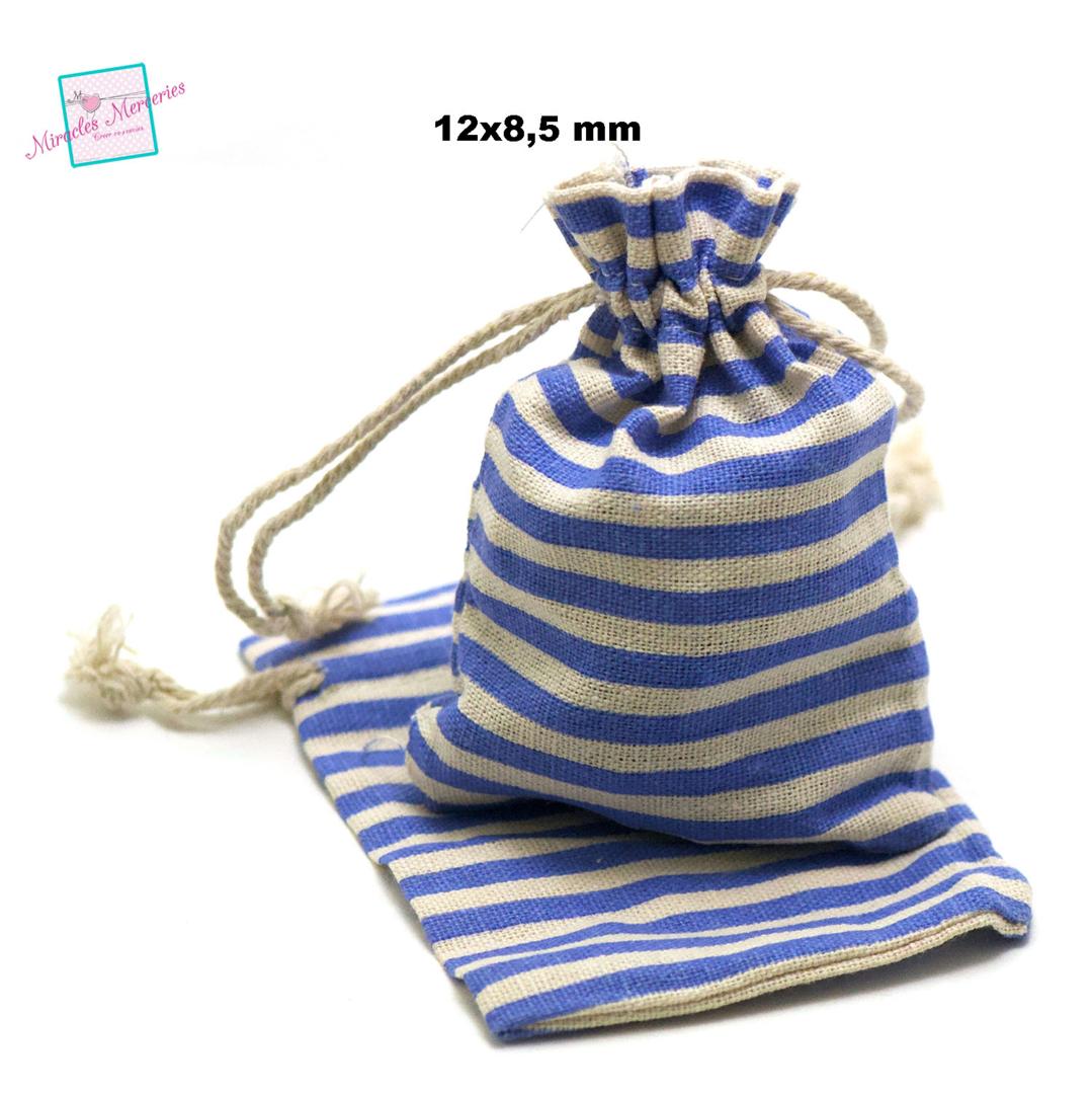 4 petites pochettes cadeaux en lin marinière 12x8,5 cm, bleu