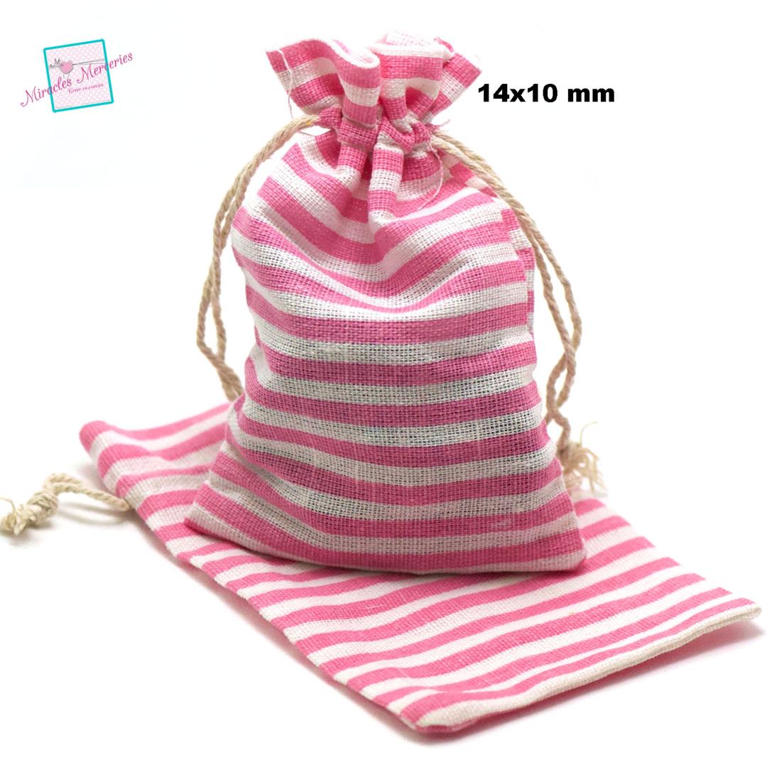 4 grandes pochettes cadeaux en lin marinière 14x10 cm, rose