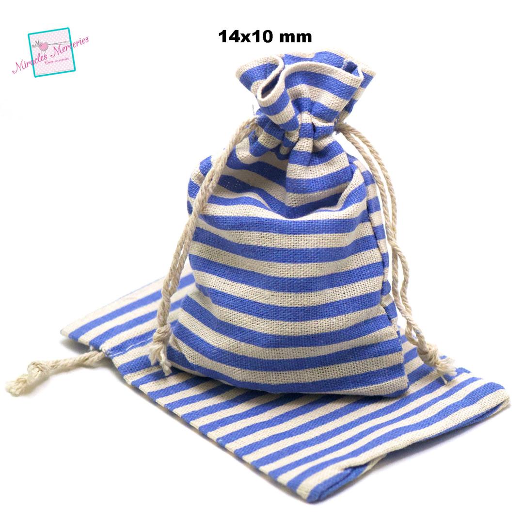 4 grandes pochettes cadeaux en lin marinière 14x10 cm, bleu