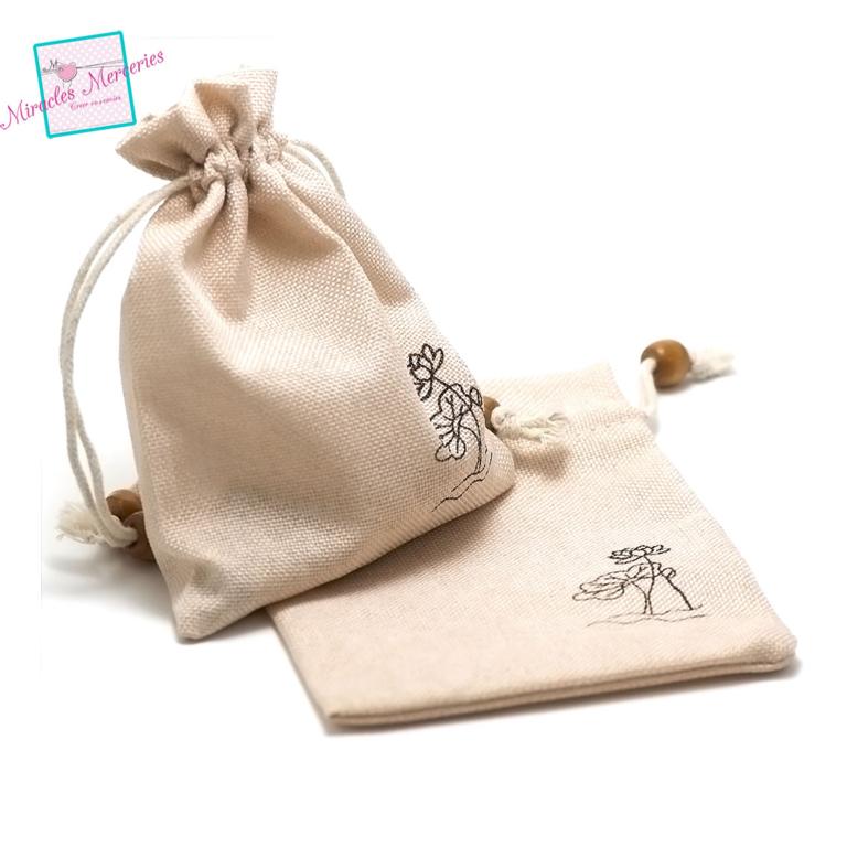 2 grandes pochettes cadeaux en lin pivoine 15x12 cm, beige clair