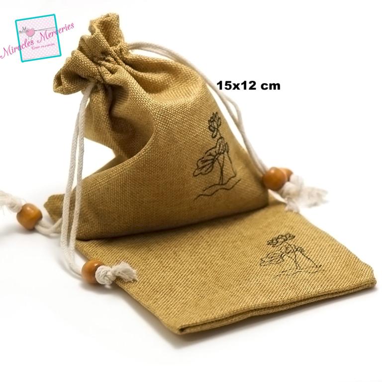 2 grandes pochettes cadeaux en lin pivoine 15x12 cm, beige foncé