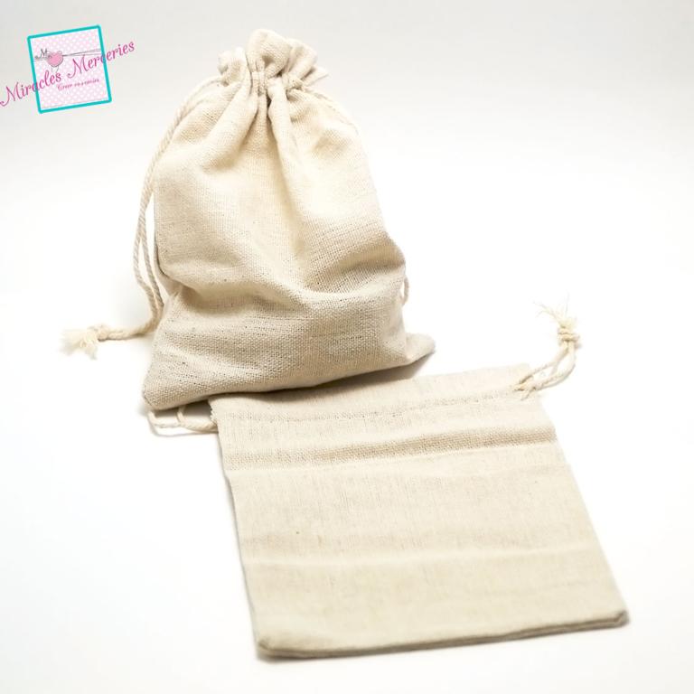 4 grandes pochettes cadeaux en lin uni 18x13 cm, beige