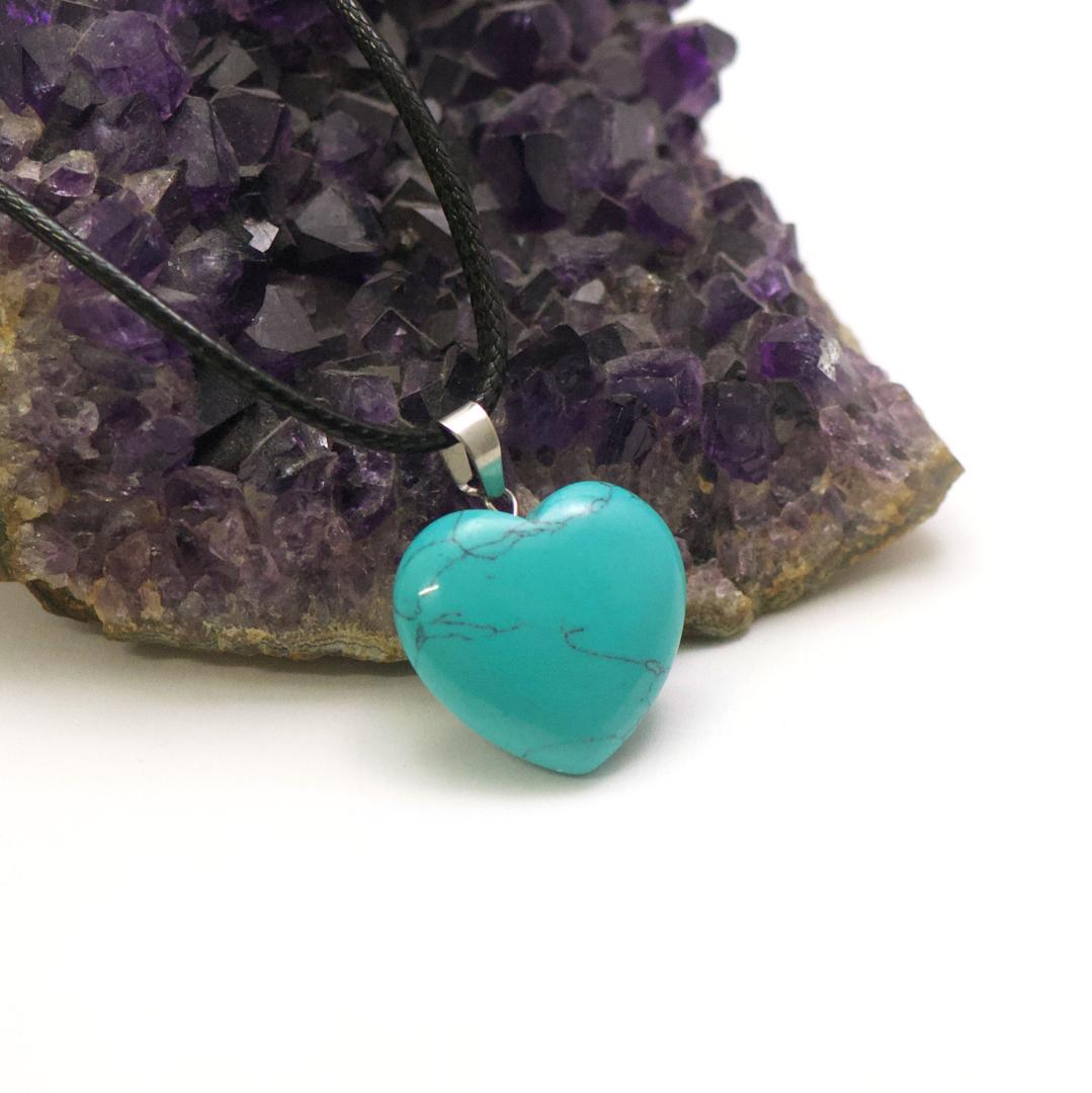 1 pendentif pierre naturelle coeur24x24 mm, turquoise