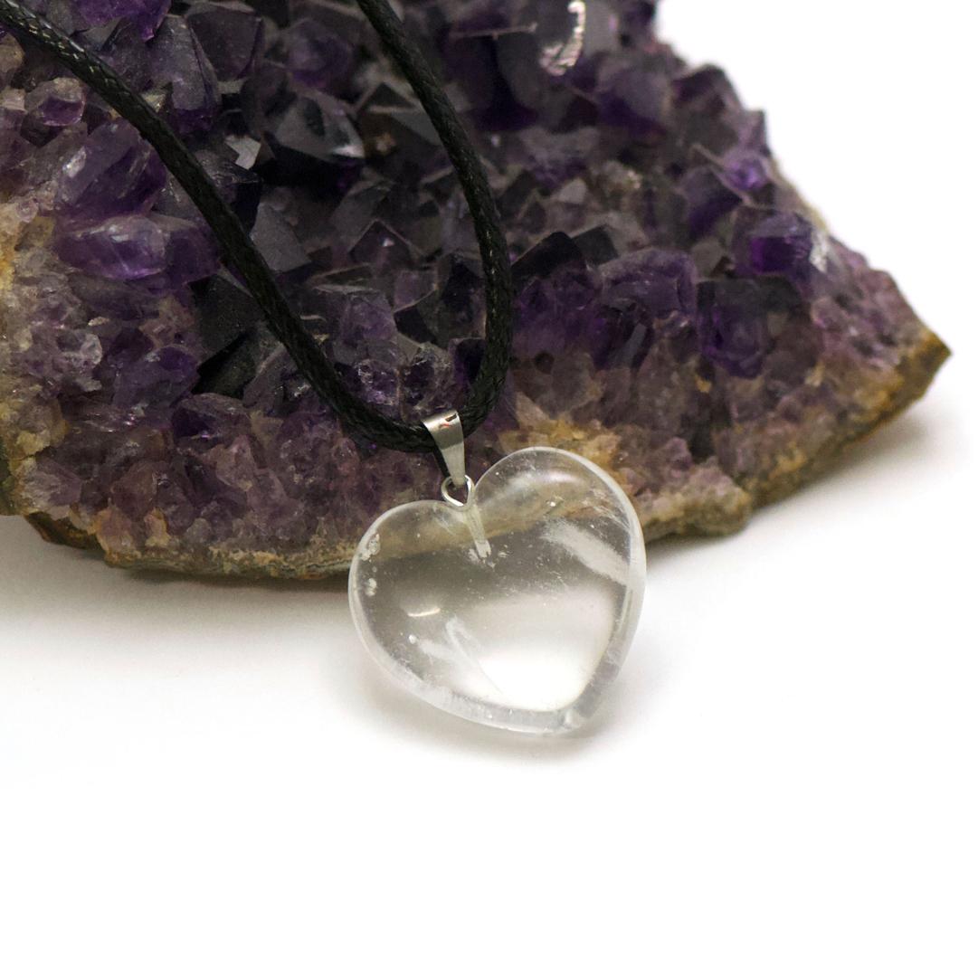1 pendentif pierre naturelle coeur24x24 mm, cristal de roche